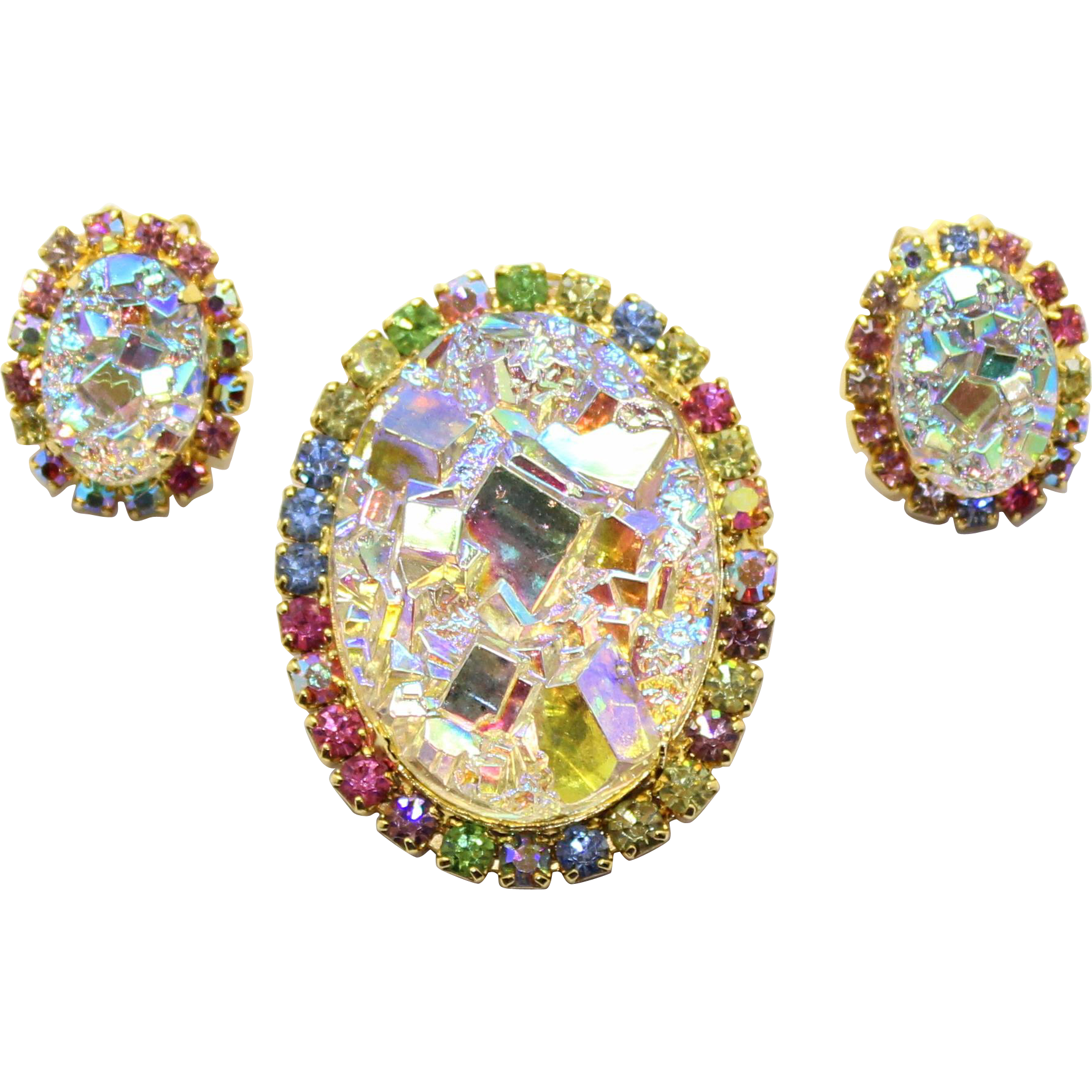 Vintage Juliana (D and E) Book Piece AB Geode Pastel Rhinestone Pendant / Brooch and Earrings Demi Parure
