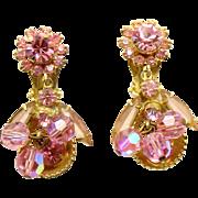 Vintage Juliana (D&E) Book Piece Pink Crystal Bead, Rhinestone & Half Cup Dangle Earrings