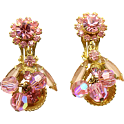 Vintage Juliana Book Piece Pink Crystal Bead, Rhinestone Half Cup Dangle Earrings