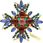 Vintage Juliana (D&E) for Roz Kaplan Originals Book Piece Cabochon & Rhinestone Maltese Cross Brooch