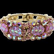 Vintage Juliana (D&E) Book Piece Pink Rhinestone Floral Pressed Glass & Rhinestone Clamper Bracelet