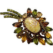 Vintage Fall Colored Rhinestone Fancy Leaf Shaped Brooch
