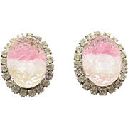 Vintage Pink & White Givre Geode Rhinestone Earrings