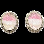 Vintage Pink & White Givre Geode Rhinestone Earrings