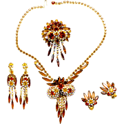 "Vintage Juliana (D and E) Book Piece Topaz and AB Rhinestone ""Owl"" Grand Parure"