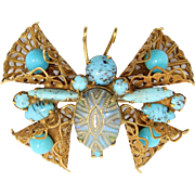 Vintage Juliana (D and E) Turquoise Painted Mosaic Rhinestone Butterfly Brooch