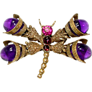 Vintage Juliana (D and E) Book Piece Purple Cabochon Rhinestone Dragonfly Brooch