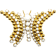Vintage Juliana (D and E) White Rhinestone and Ball Chain Butterfly Brooch