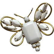 Vintage Juliana (D and E) Book Piece White Milk Glass Rhinestone Butterfly Brooch