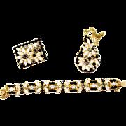 Vintage Juliana (D and E) Black, White Moonstone Rhinestone Framed Flower Pendant Necklace, Brooch and Bracelet Parure