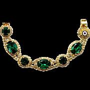 Vintage Juliana Book Piece American Legion Green Oval Rhinestone Bracelet