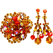 Vintage Juliana (D and E) Book Piece Orange and Topaz Rhinestone and Crystal Bead Parure