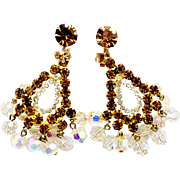 Vintage Juliana (D and E) Topaz and AB Crystal Bead Chandelier Earrings