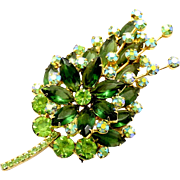 Vintage Juliana (D and E) Olivine Green and AB Rhinestone Spiky Brooch