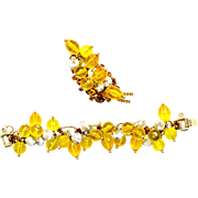 Vintage Juliana (D and E) Book Piece Yellow Disco Bead Gold Nugget Bead and Topaz Rhinestone Brooch and Bracelet Demi Parure