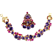 Vintage Juliana (D and E) Fuchsia Pink, Cardinal (purple) Rhinestone Brooch / Pendant and Bracelet Demi Parure
