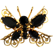 Vintage Juliana (D and E) Black Rhinestone and Filigree Butterfly Brooch