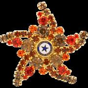 Vintage Juliana (D and E) Book Piece American Legion Topaz and Orange Rhinestone Starfish Brooch