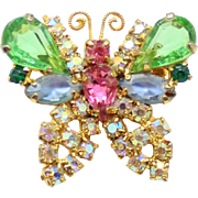 Vintage Juliana (D and E) Pastel Rhinestone Butterfly Brooch