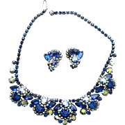 Vintage Juliana (D and E) Book Piece Blue and AB Rhinestone Demi Parure Necklace and Earrings