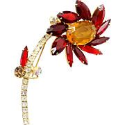 Vintage Juliana (D and E) Book Piece Red and Topaz Rhinestone Flower Brooch