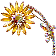 Vintage Juliana (D and E) Book Piece Topaz Rhinestone Flower Brooch