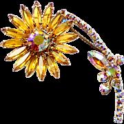 Vintage Juliana (D and E) Book Piece Topaz Rhinestone Flower Brooch