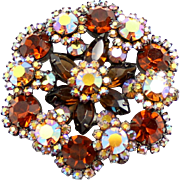 Vintage Juliana (D and E) Book Piece Topaz and AB Rhinestone Brooch