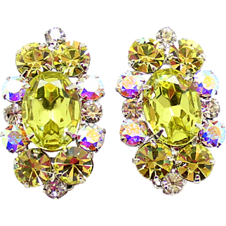 Vintage Juliana (D and E) Jonquil (Yellow) Headlight and AB Rhinestone Earrings
