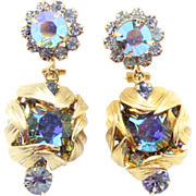 Vintage Juliana (D and E) Blue and AB Rhinestone Venus Flames Dangle Earrings
