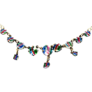 Vintage Rainbow or Iris Glass in 835 Silver Necklace