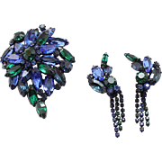 Vintage Blue and Green Rhinestone Demi Parure Brooch and Earrings