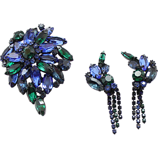 Vintage Blue and Green Rhinestone Demi Parure
