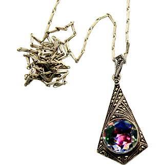 Vintage Rainbow or Iris Glass with Marcasites in 830 Silver Pendant Necklace