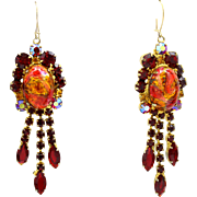Vintage Juliana (D and E) Book Piece Red Gold Fluss Cabochon and Topaz Rhinestone