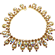 Vintage Juliana (D and E) Topaz and Red Rhinestone Collar Necklace