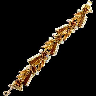 Vintage Juliana (D and E) Topaz Keystone Rhinestone Bracelet