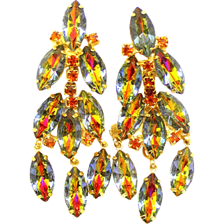 Vintage Juliana Peacock Topaz Watermelon Rhinestone Dangle Earrings