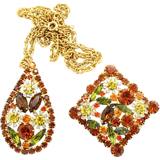 Vintage Juliana (D and E) Fall Colors With Flowers Rhinestone Demi Parure Pendant Necklace and Brooch