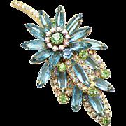 Vintage Juliana Aqua blue, peridot green and AB rhinestone Leaf Brooch