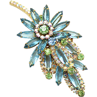 Vintage Juliana Aqua blue, peridot green and AB rhinestone Leaf Brooch