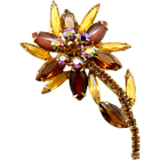 Vintage Juliana Book Piece Topaz Rhinestone and Cabochon Flower Brooch