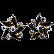Vintage Juliana Black Navette and AB rhinestone Flower Earring