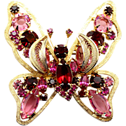 Vintage Pink Fuchsia and Red Rhinestone Filigree Leaf Butterfly Brooch