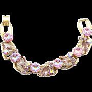 Vintage Juliana Pink Scooped AB Lavender Rhinestone Bracelet