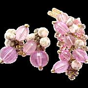 Vintage Juliana Book Piece Pink Disco Bead Gold Nugget Bead Lavender Rhinestone Brooch Earrings Demi Parure