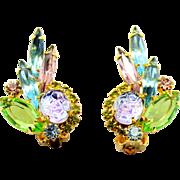 Vintage Juliana Book Piece Lavender Givre Geode Rhinestone Earrings