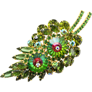 Vintage Juliana Book Piece Olivine Green Rhinestone Watermelon Margarita Leaf Brooch