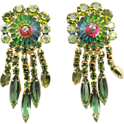 Vintage Juliana Book Piece Olivine Green Rhinestone Watermelon Margarita Dangle Earrings