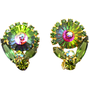 Vintage Juliana Book Piece Olivine Green Rhinestone Watermelon Margarita Earrings